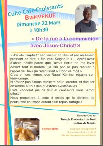 Culte Café-Croissants le 22 mars 2015